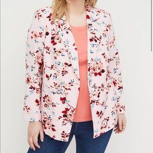 LANE BRYANT Pink Floral Print Crepe Blazer